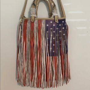 NWT! American Flag Fringe Purse!